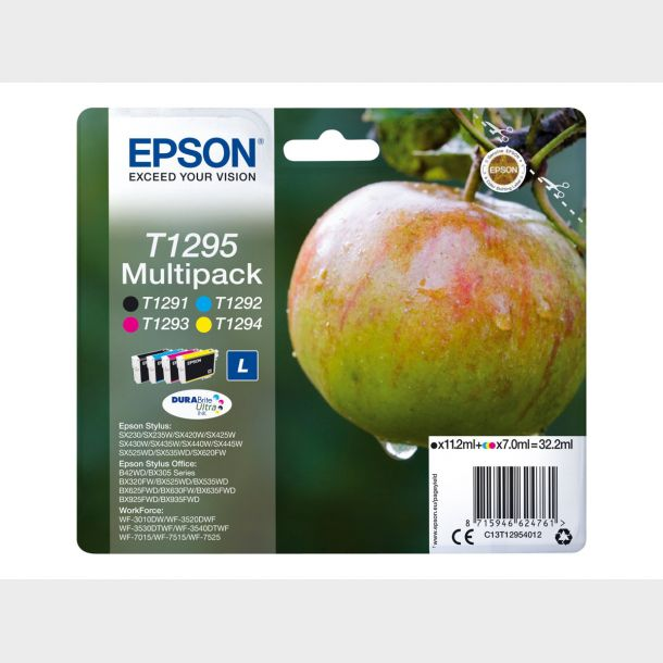 Epson T1295 Multipack Sort Gul Cyan Magenta